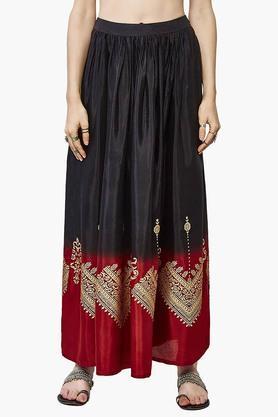 GLOBAL DESIWomens Colour Block Printed Flared Long Skirt