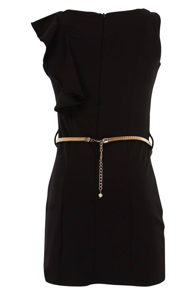 Girls Round Neck Solid Dress