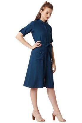 Womens Solid Empire Waist Dress