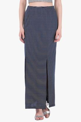 FABALLEY Womens Stripe Slitted Long Skirt