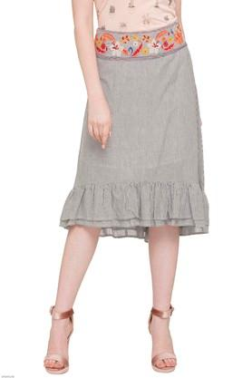 109F Womens Embroidered Casual Skirt