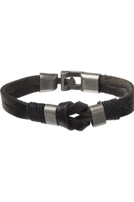 Mens Leather and Metallic Cuff Bracelet