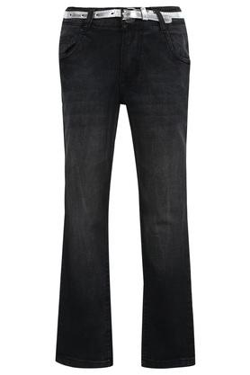 Girls 5 Pocket Whiskered Effect Jeans
