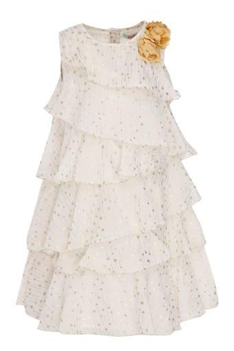 Girls Round Neck Printed Tiered Dress