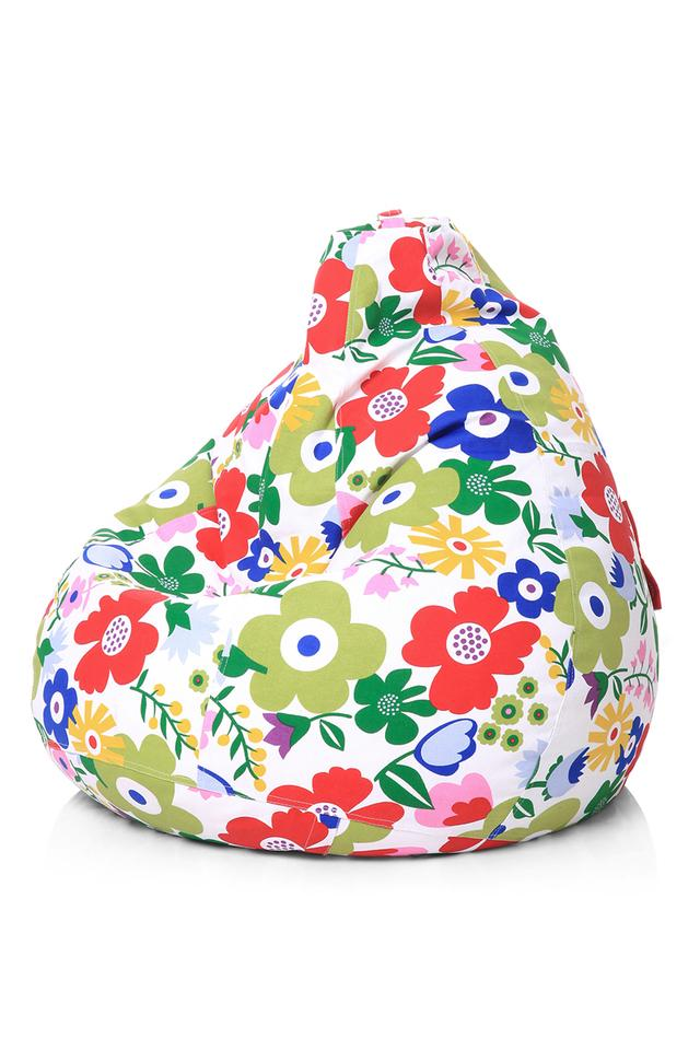 Classic Canvas Floral Printed Bean Bag XL Size with Fillers