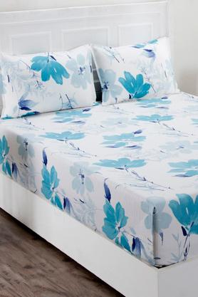 Superfine Cotton Blue Double Bedsheet with 2 Pillow Covers - 210 TC