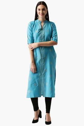 LIBAS Womens Cotton Block Printed Straight Kurta