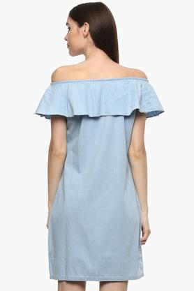 Womens Off Shoulder Neck Slub Shift Dress
