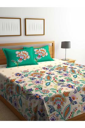 PORTICO Floral Printed Double Bed Cover With Pillow Cover Set