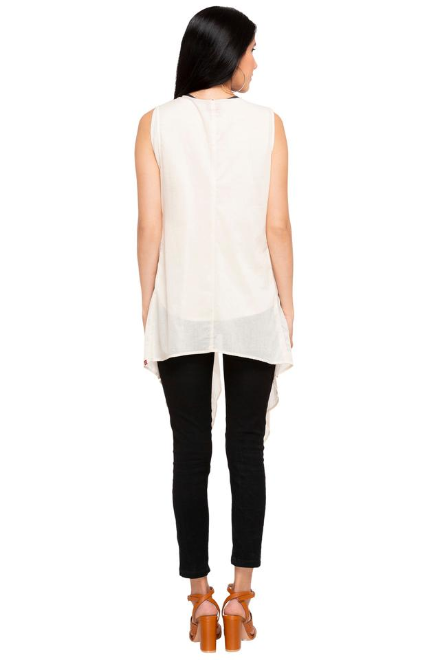 Womens Round Neck Printed Top with Shrug