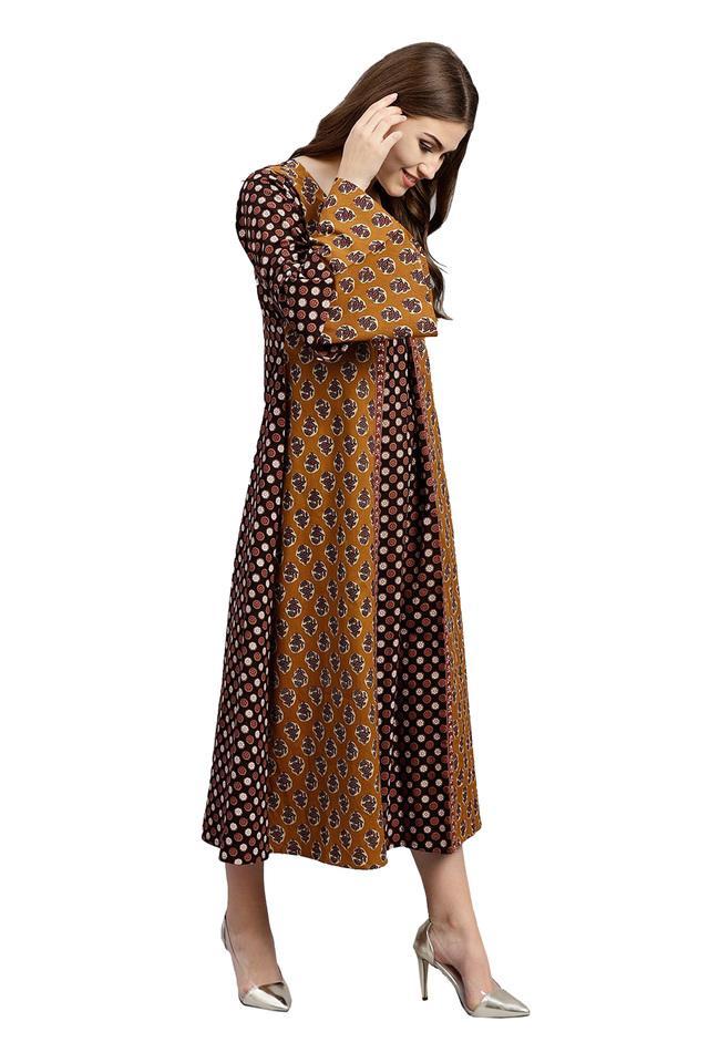 Womens Round Neck Printed Calf Length Dress
