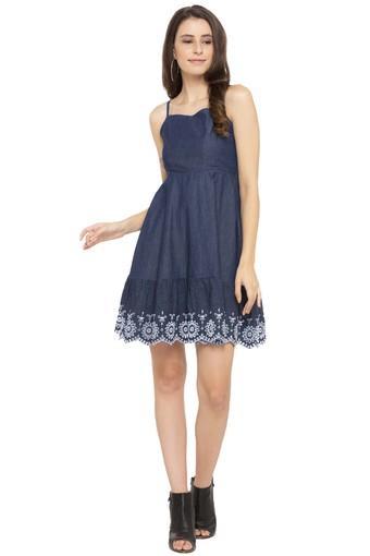Womens Spaghetti Neck Slub Flared Dress