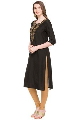 Womens Round Neck Solid Embroidered Kurta