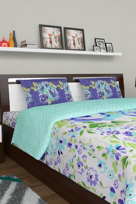 PORTICO Floral Print Double Bedsheet With 2 Pillow Covers - 203359113_9900