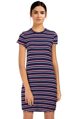 061f4aebbbfb X FLYING MACHINE Womens Round Neck Striped Shift Dress. FLYING MACHINE. Womens  Round Neck Striped ...