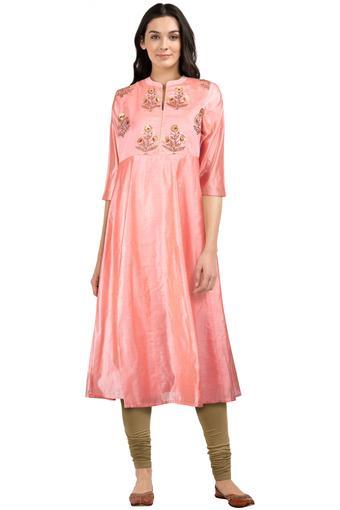 Womens Mandarin Collar Solid Embellished Kurta