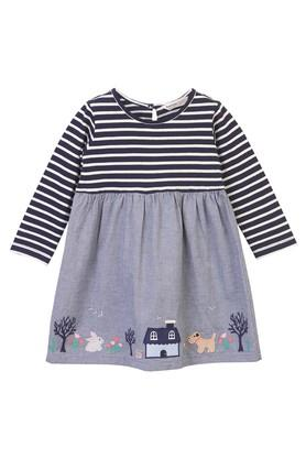Girls Round Neck Patch Work A-Line Dress
