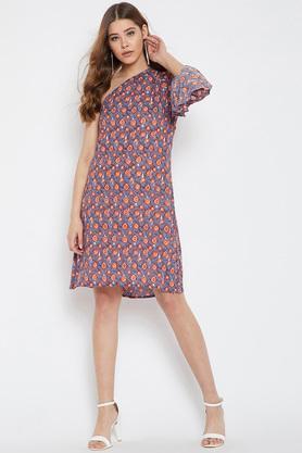 Womens One Shoulder Printed Shift Dress
