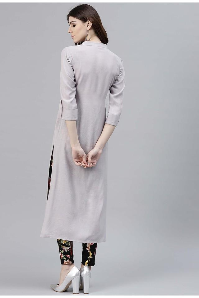 Women Rayon Solid Straight Kurta With One Side Pocket