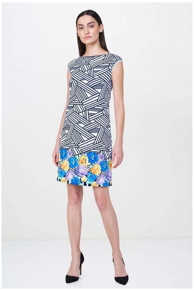 Womens Round Neck Printed Knee Length Dress
