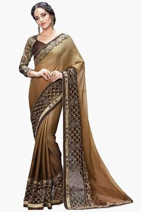 DEMARCA Womens Georgette Lace Saree