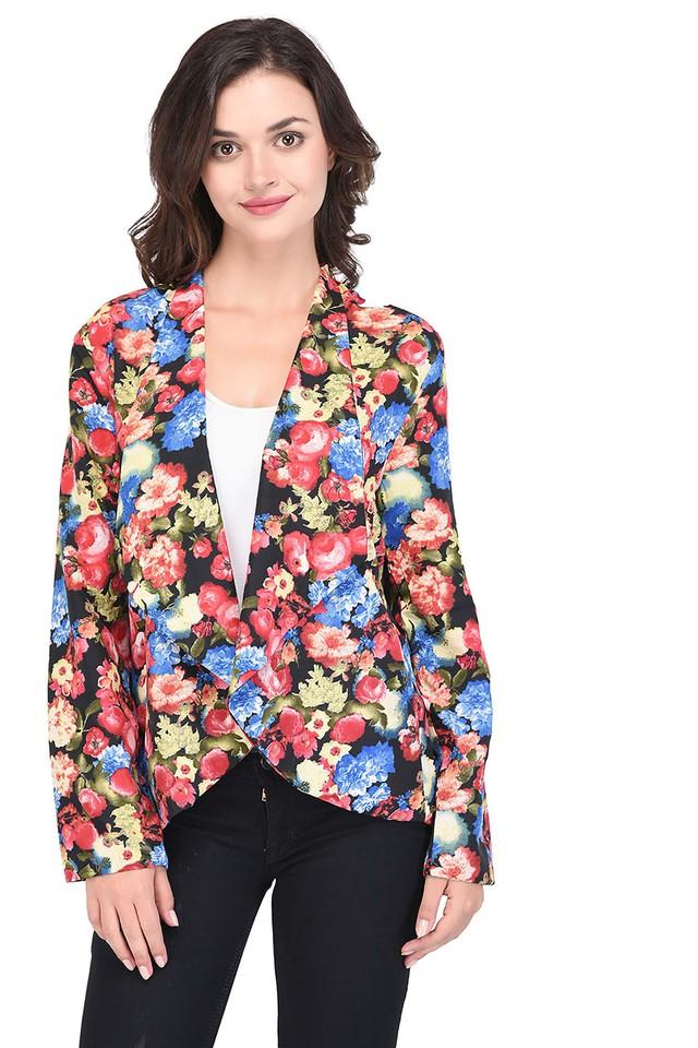 Womens Open Front Floral Print Shrug