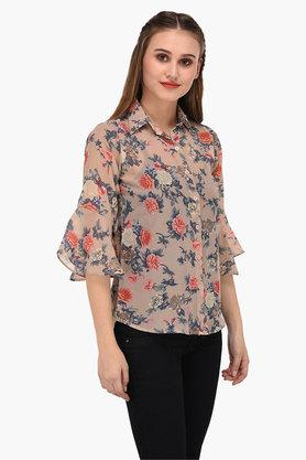 Womens Collared Neck Printed Shirt