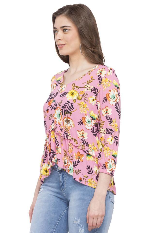 Womens V Neck Floral Print Top