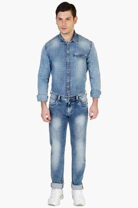 Mens Slim Fit Stone Wash Jeans