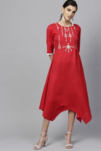 Womens Key Hole Neck Embroidered Asymmetrical Dress