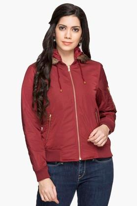 GIPSYWomens Hooded Solid Jacket