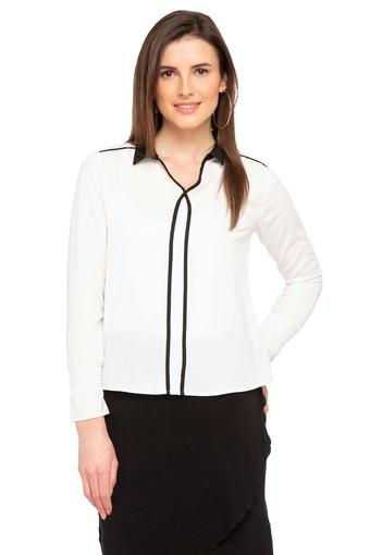 Womens Collared Solid Tunic