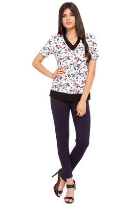 Womens V Neck Floral Print Top
