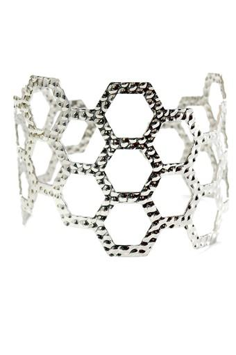 Womens Silver Plated Metal Cuff