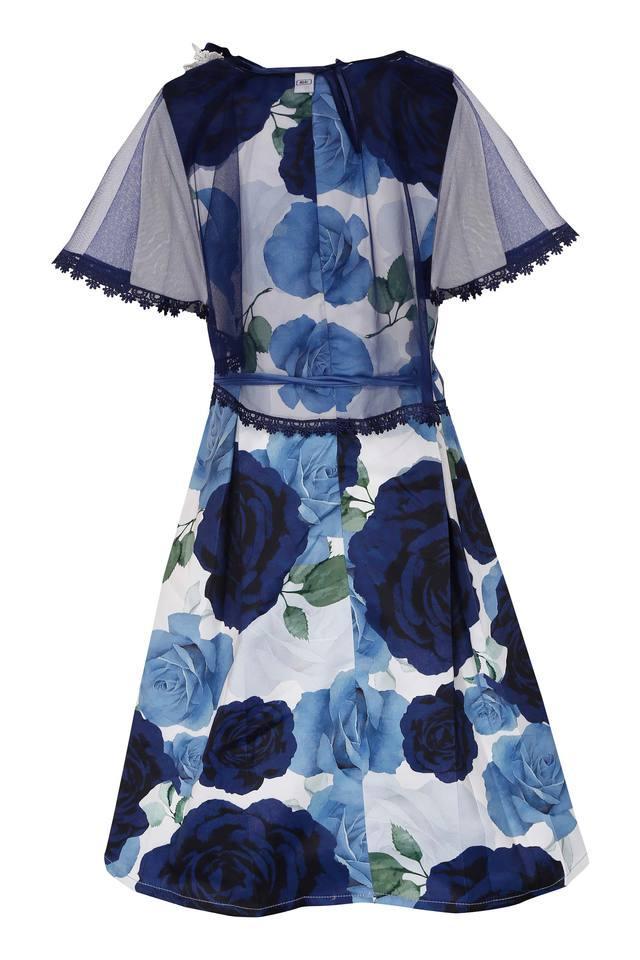 Girls Round Neck Printed Flared Dress with Belt