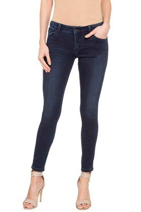 Womens 5 Pocket Washed Jeans