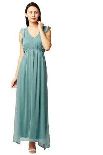 Womens V Neck Solid Maxi Dress