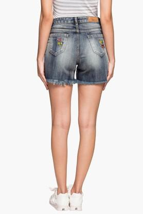 Womens 5 Pocket Heavy Wash Distressed Shorts