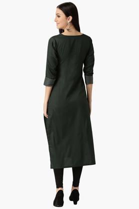 Womens Cotton Solid Straight Kurta
