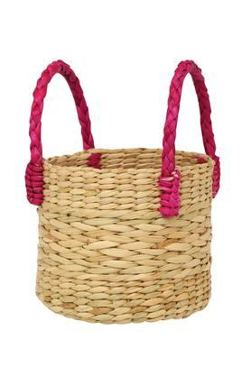 BACK TO EARTH Round Woven Basket With Handle