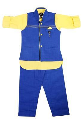 Boys Slub Kurta Jacket and Pyjama Set