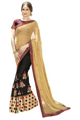 DEMARCA Womens Colour Block Embroidered Saree With Blouse Piece - 204771686_9212
