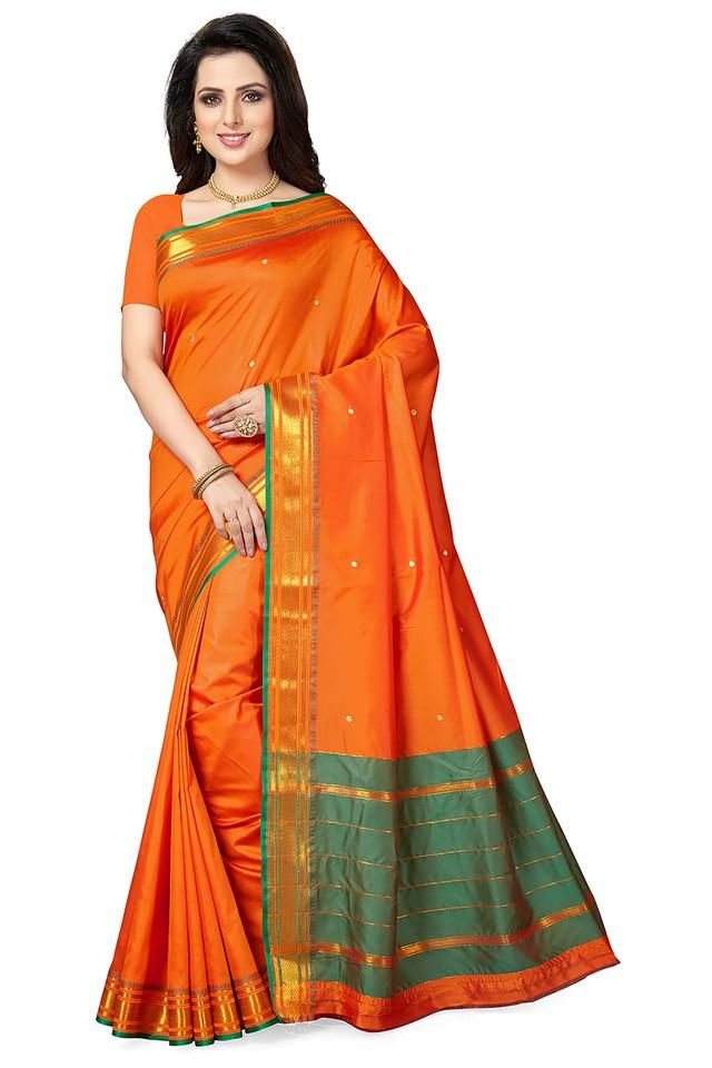 Womens Gold Woven Saree With Blouse Piece