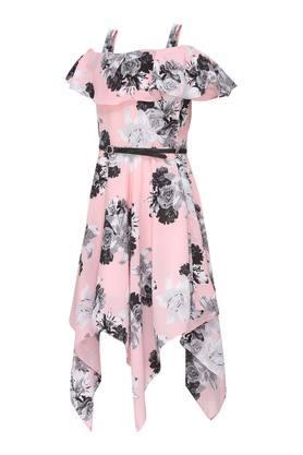 Girls Off Shoulder Neck Floral Print Asymmetrical Dress With Belt