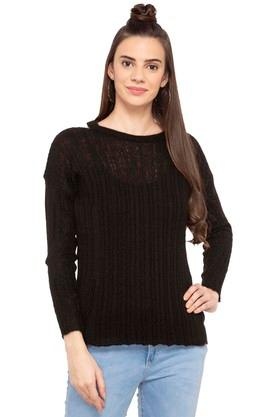 AEROPOSTALE Womens Round Neck Solid Knitted Sweater