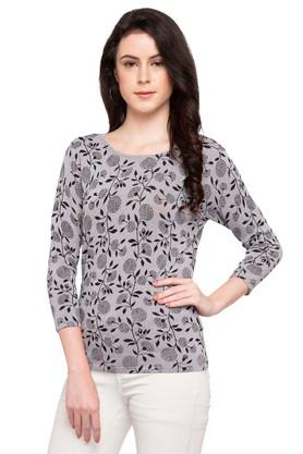 ALLEN SOLLY Womens Round Neck Printed Pullover
