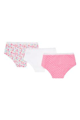 Girls Floral Print Dot Pattern and Solid Briefs - Pack Of 3