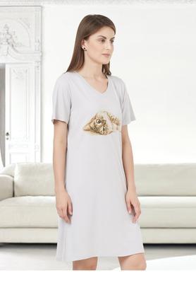 Womens V Neck Printed Long Top