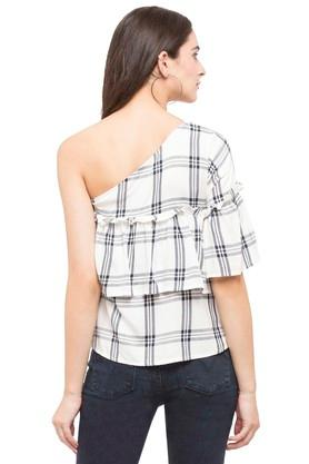 Womens One Shoulder Check Top