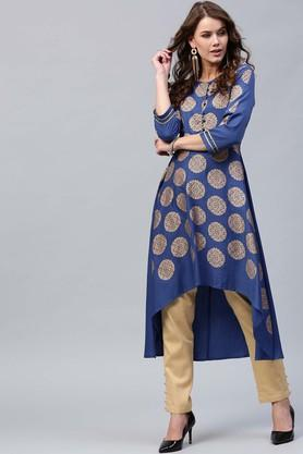 Womens Round Neck Printed Asymmetrical Kurta